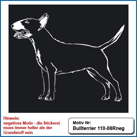 Hunde Motiv Bullterrier Motiv gestickt Stickerei Bull Terrier sticken Bullterrier stehend besticken Stickerei Bullterrier stehend auf dunkle Artikel