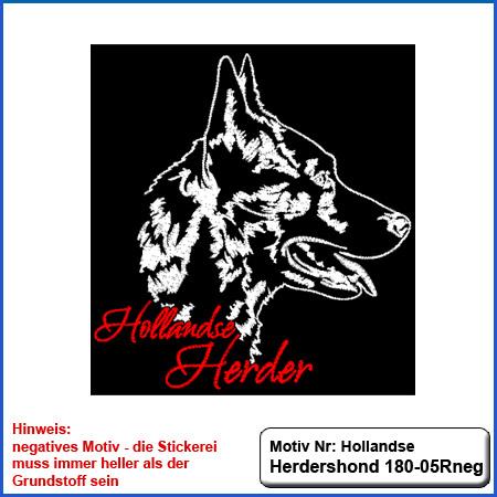 Hunde Motiv Großer Hollandse Herdershond  Stickerei Hollandse Herdershond  und Schriftzug sticken