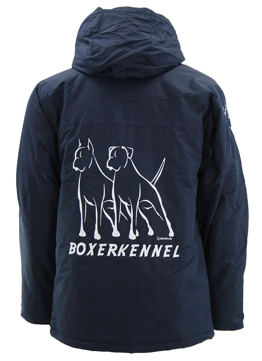 Jacke, Damen Jacke KINGSLAKE mit Hundemotiv  besticken, Hundemotiv BOXER sticken, wasserdichte, gefütterte Jacke besticken, Stickerei Jacke Kingslake von Clique Hunde sticken