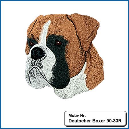 Hunde Motiv Deutscher Boxer Kopf Motiv gestickt Stickerei Boxer Boxer farbig gestickt Boxer Hundemotiv