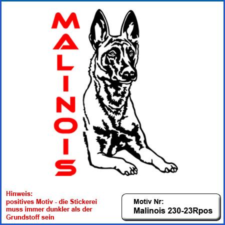 Hunde Motiv MALINOIS Stickerei Malinois Mali Belgian Malinois sticken Malinois