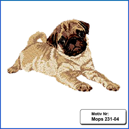 Hunde Motiv Mops Welpe liegend Motiv gestickt Stickerei Mops Mops Hundemotiv Stickerei