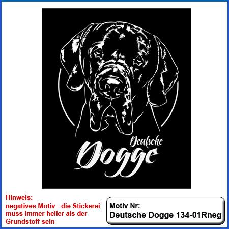 Hunde Motiv Deutsche Dogge Motiv gestickt Stickerei Dogge gestickt