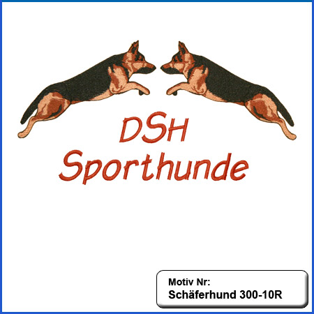 Hunde Motiv Schaeferhund Deutscher Schäferhund springend farbig gestickt sticken gestickt Stickerei DSH Schäferhund German Shepherd sticken
