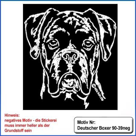 Hunde Motiv Deutscher Boxer Kopf von vorn Motiv gestickt Stickerei Boxer gestickt
