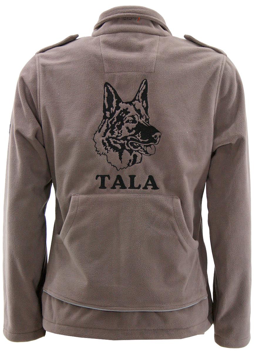 Damen Fleecejacke MORA von GoodBoy mit Hundemotiv Schäferhund Kopf besticken Stickerei Fleece Jacke MORA Fleecejacke mit Rückentasche selbst gestalten und  besticken lassen
