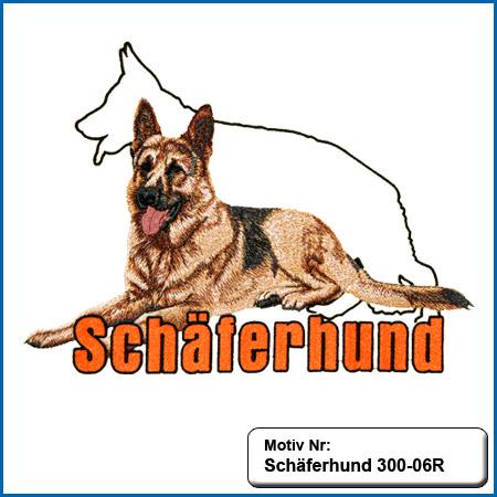 Hunde Motiv Schaeferhund Deutscher Schäferhund sticken gestickt Stickerei DSH Schäferhund liegend komplett gestickt German Shepherd sticken