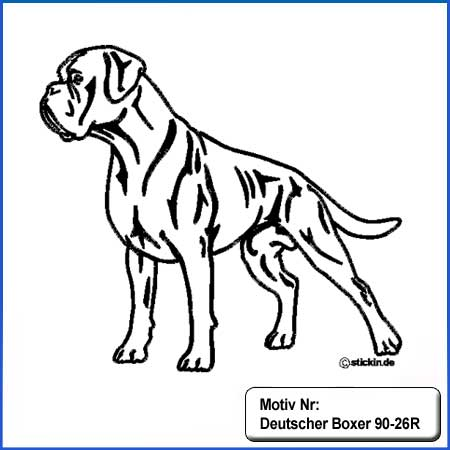 Hunde Motiv Deutscher Boxer stehend gestickt Stickerei Boxer gestickt