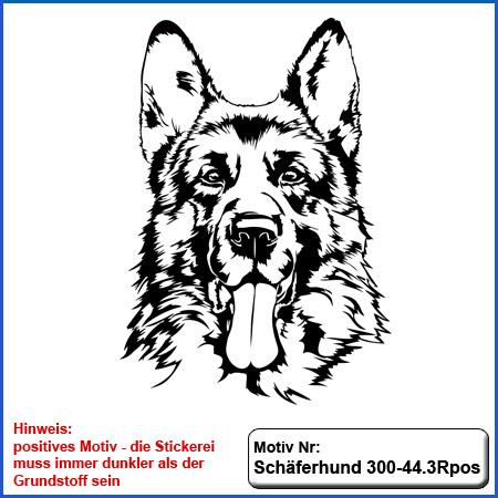 Hunde Motiv Schaeferhund Deutscher Schäferhund Kopf gestickt Stickerei DSH Schäferhund German Shepherd sticken