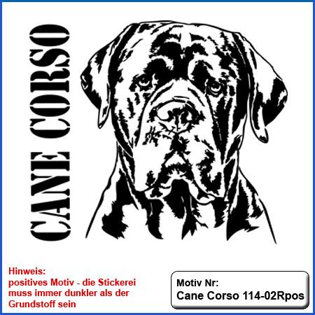 Cane Corso Hunde Motiv sticken Cane Corso Kopf Stickerei T-Shirt sticken mit Cane Corso und Schriftzug Cane Corso