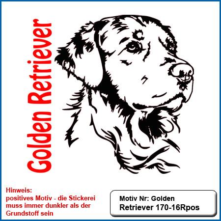 Hunde Motiv Golden Retriever Stickerei Golden Retriever sticken Hundesportbekleidung besticken Hunde Motive Golden Retriever auf Hundesport Bekleidung sticken