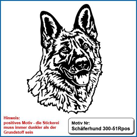 Hunde Motiv Schaeferhund Deutscher Schäferhund Kopf sticken gestickt Stickerei DSH Schäferhund German Shepherd sticken