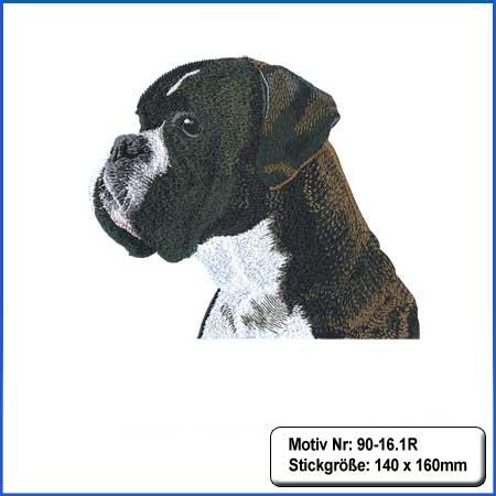 Hunde Motiv Deutscher Boxer Kopf gestromt gestickt Stickerei Boxer Kopf gestickt
