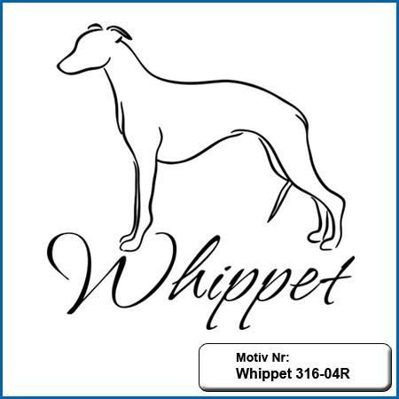 Whippet Hundemotiv Whippet echt gestickt Stickerei Whippet Hunde