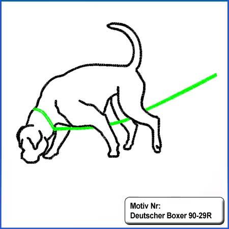 Hunde Motiv Deutscher Boxer suchend Motiv gestickt Stickerei Boxer gestickt