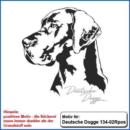 Hunde Motiv Deutsche Dogge Motiv gestickt Stickerei Dogge gestickt Hundesport Bekleidung besticken mit Hunde Motiv Deutsche Dogge