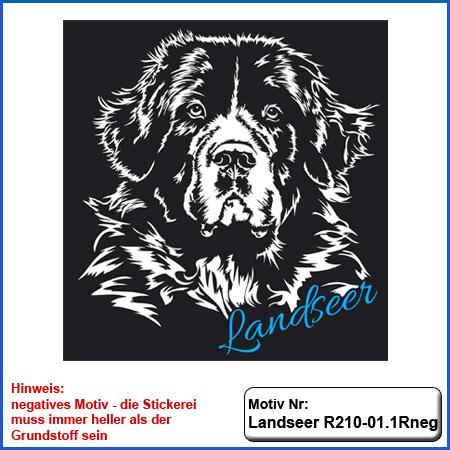 Hunde Motiv Landseer Stickerei Landseer Kopf sticken