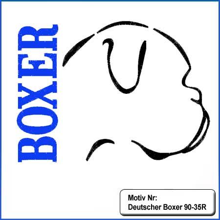 Hunde Motiv Deutscher Boxer Kopf Motiv gestickt Stickerei Boxer gestickt