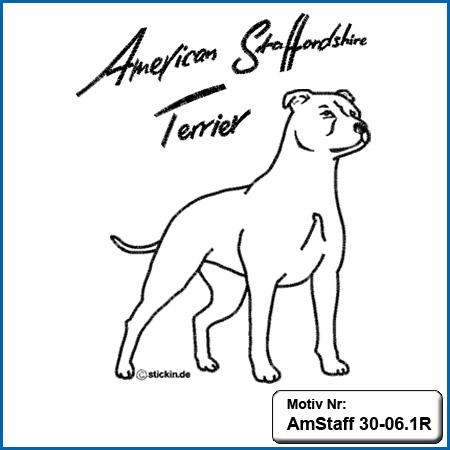 American Staffordshire Terrier Motiv AmStaff Motive American Staffordshire Terrier sticken American Staffordshire Terrier Stickmotiv Hunde Motiv Stickin