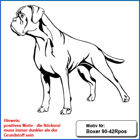Hunde Motiv Deutscher Boxer Motiv gestickt Stickerei Boxer gestickt