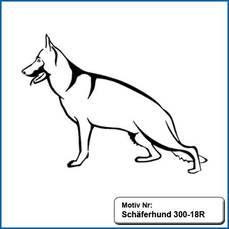Hunde Motiv Schaeferhund Deutscher Schäferhund Outline sticken gestickt Stickerei DSH Schäferhund stehend gestickt German Shepherd sticken