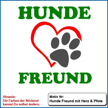 Hundemotiv Hundefreund mit Herz und Pfote echt gestickt Stickerei Hunde Motiv Hunde Freund mit Herz und Pfote kombiniert