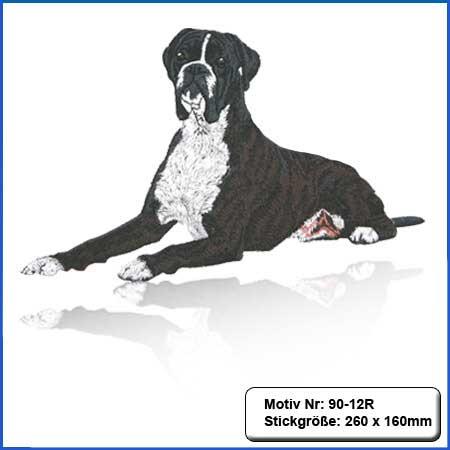 Hunde Motiv Deutscher Boxer gestromt gestickt Stickerei Boxer liegendsticken Boxer dunkelgestromt Hundemotiv