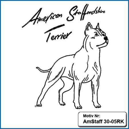 American Staffordshire Terrier Motiv AmStaff Motive American Staffordshire Terrier sticken American Staffordshire Terrier Stickmotiv kupiert Hunde Motiv Stickin