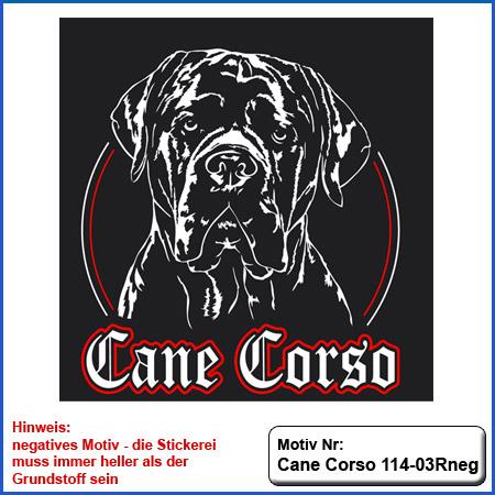 Cane Corso Hunde Motiv sticken Cane Corso Kopf Stickerei mit Schrift T-Shirt sticken mit Cane Corso und Schriftzug Cane Corso