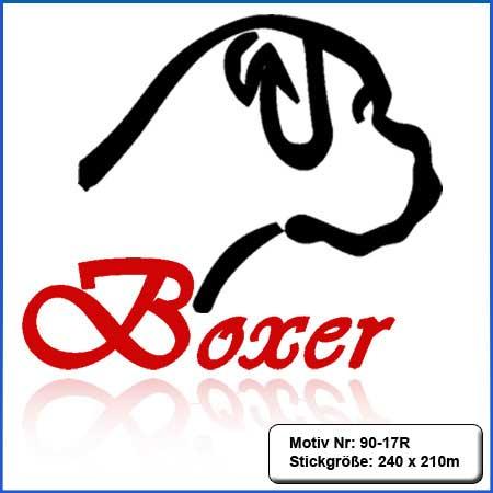 Hunde Motiv Deutscher Boxer Kopf einfarbig gestickt Stickerei Boxer Kopf gestickt