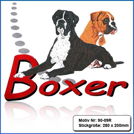 Hunde Motiv Deutscher Boxer gestromt liegend gestickt Stickerei Boxer Kopf sticken Boxer gelb Hundemotiv