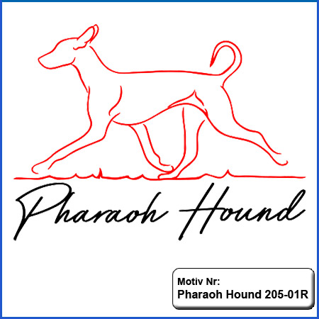 Hunde Motiv Pharao Hound laufend Motiv gestickt Stickerei Pharao Hound gestickt