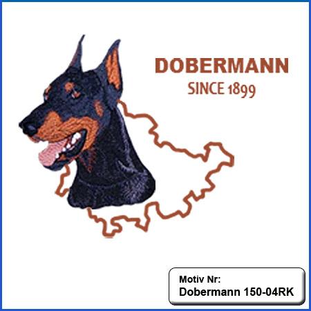 Hunde Motiv Dobermann Kopf kupiert Motiv gestickt Stickerei Dobermann gestickt