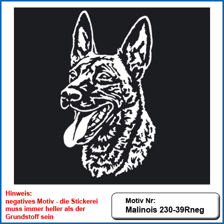 Hunde Motiv MALINOIS Kopf auf dunkle Textilien Stickerei Malinois Mali Belgian Malinois sticken Malinois Hundesport Bekleidung mit Malinois Schutzdienst besticken