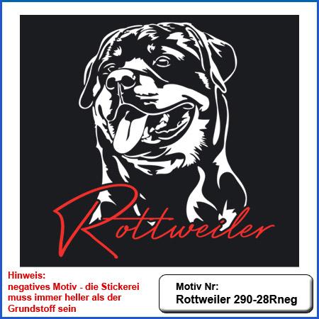 Hunde Motiv Rottweiler Kopfmotiv Schutzdienst gestickt Stickerei Rottweiler sticken