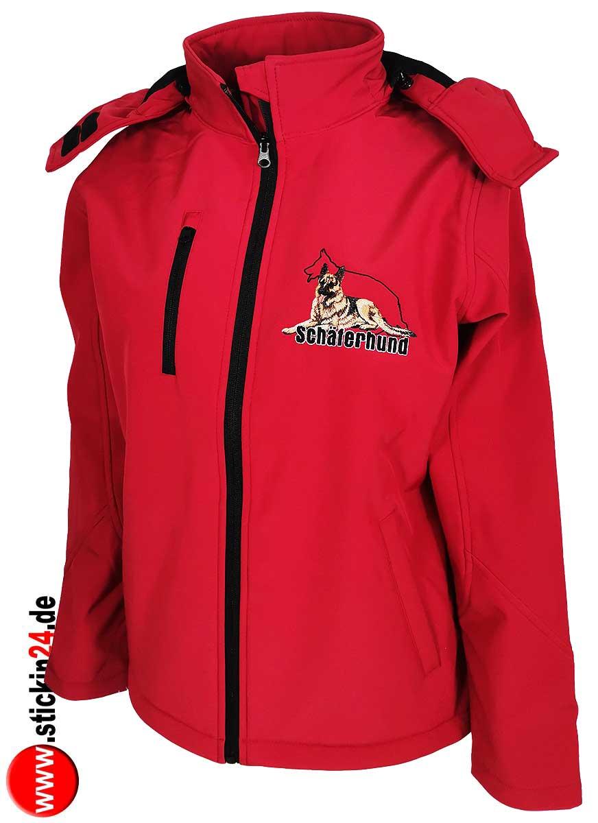 Softshell Jacke besticken Damen Softshell Jacke mit Kapuze und Schäferhund besticken lassen