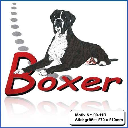 Hunde Motiv Deutscher Boxer gestromt gestickt Stickerei Boxer liegend sticken Boxer dunkelgestromt mit Schriftzug Boxer Stickerei