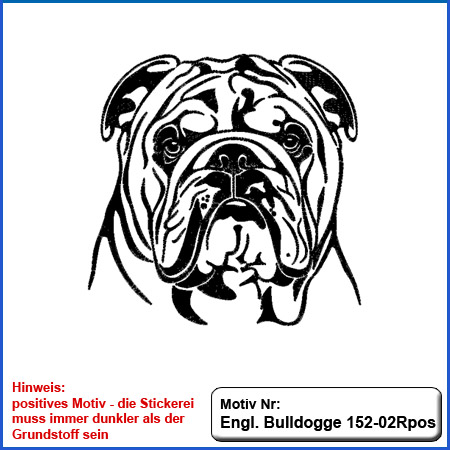 Hunde Motiv Englische Bulldogge Stickerei English Bulldog sticken