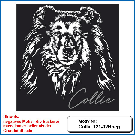Hunde Motiv Collie sticken gestickt Stickerei Collie Langhaar Kopf Collie sticken Hundesport Bekleidung mit Collie besticken Hundeführer Kleidung besticken mit Collie Motiv