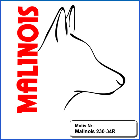 Hunde Motiv MALINOIS Stickerei Malinois Mali Belgian Malinois sticken Malinois Kopf Outline