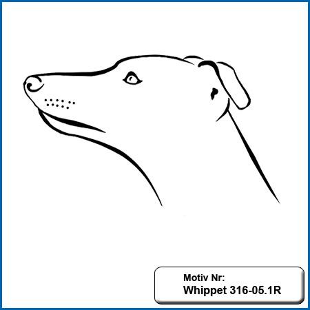 Hundemotiv Whippet Whippet sticken Windhund echt gestickt Stickerei Whippet Hunde