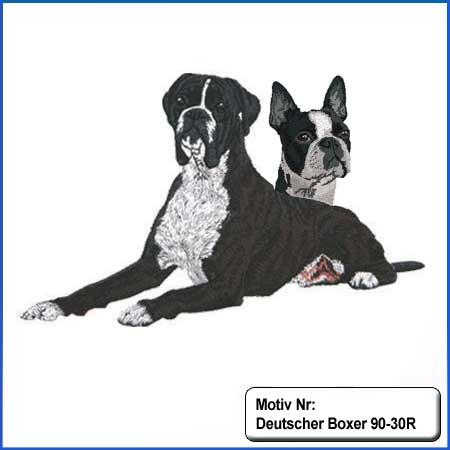 Hunde Motiv Deutscher Boxer gestromt gestickt mit Boston Terrier Stickerei Boxer liegend sticken Boxer dunkelgestromt Hundemotiv