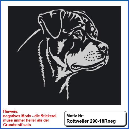 Hunde Motiv Rottweiler Kopf Motiv gestickt Stickerei Rottweiler Kopf einfarbig sticken