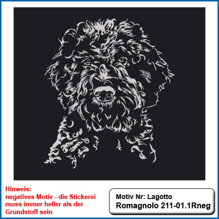 Hunde Motiv Lagotto Romagnolo Stickerei Lagotto Romagnolo sticken Hundesport Kleidung mit Lagotto Romagnolo besticken