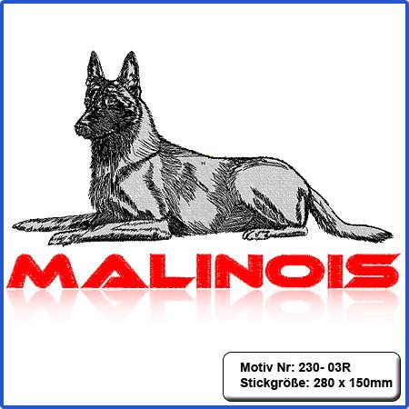 Hunde Motiv MALINOIS Stickerei Malinois Mali Belgian Malinois sticken