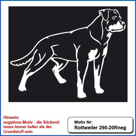 Hunde Motiv Rottweiler stehend als Outline Motiv gestickt Stickerei Rottweiler stehend einfarbig sticken auf dunkle Textilien