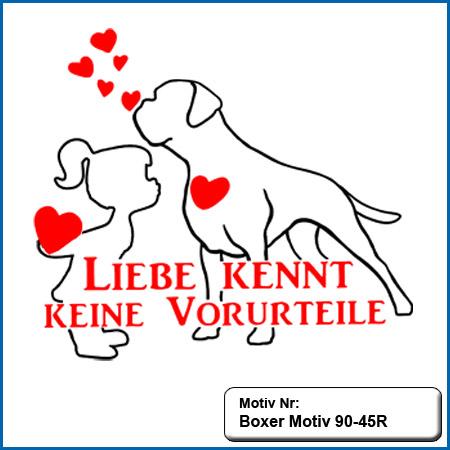 Hunde Motiv Deutscher Boxer Liebe Motiv gestickt Stickerei Boxer Boxer Liebe kennt keine Vorurteile gestickt Boxer Hundemotiv