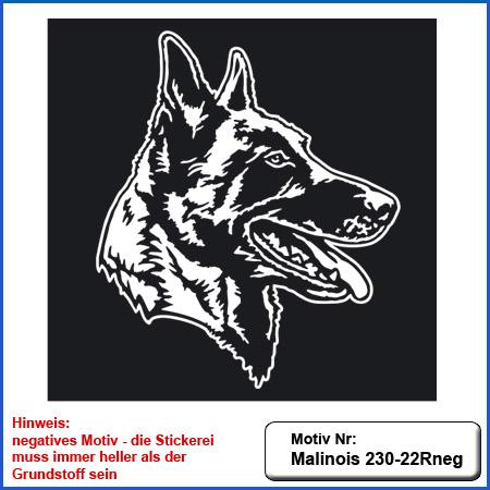 Hunde Motiv MALINOIS Kopf Stickerei Malinois Mali Belgian Malinois sticken Malinois Kopfmotiv
