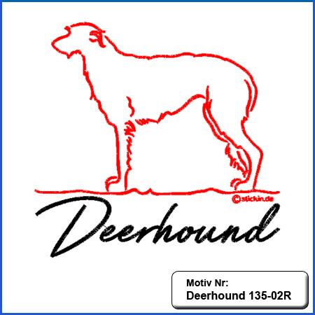 Hunde Motiv DEERHOUND Motiv gestickt Stickerei Deerhound gestickt