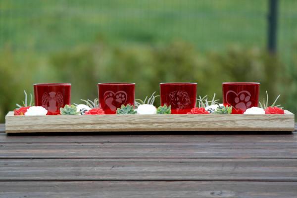 4er Set Tischgesteck - Glas Windlicht mit Gravur